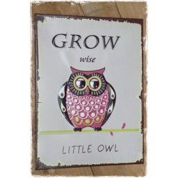tekstbord vintage retro uil kinderkamer - grow wise little owl - janenjuup