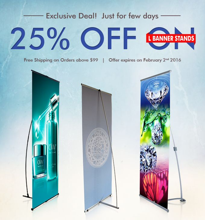 Exclusive Deal - 25% OFF on L Banner Stands for tradeshow events and exhibition Use Coupon:LBSTANDS Expire On 2 Feb,2016