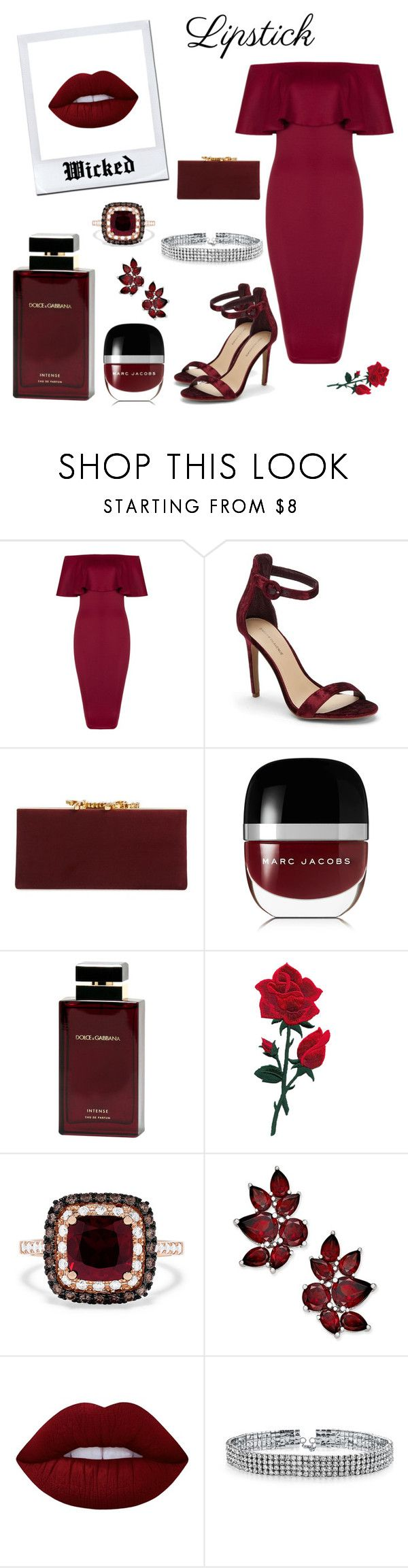 """OOTD (Lipstick Lime Crime Wicked)"" by cybertrasher ❤ liked on Polyvore featuring beauty, Saks Fifth Avenue, Jimmy Choo, Marc Jacobs, Dolce&Gabbana, Effy Jewelry, Lime Crime and Bling Jewelry"