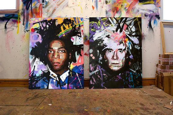 Jean Michel Basquiat Andy Warhol Original Painting 40 X2