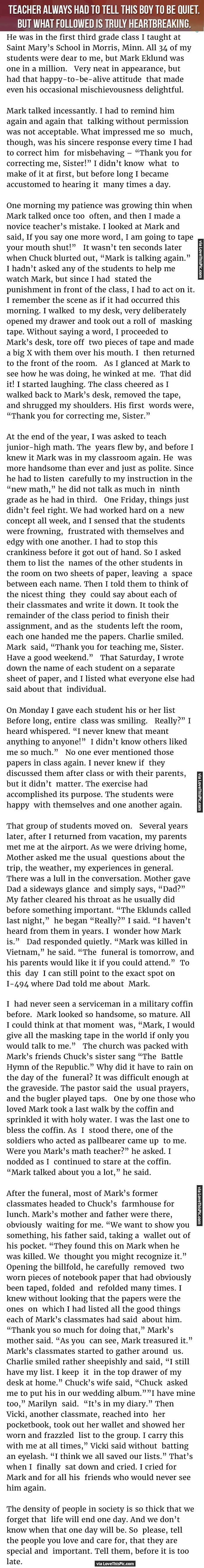 Teacher Always Had To Tell This Boy To Be Quiet But What Followed Is Truly Heartbreaking. people amazing story interesting facts stories heart warming good people teachers