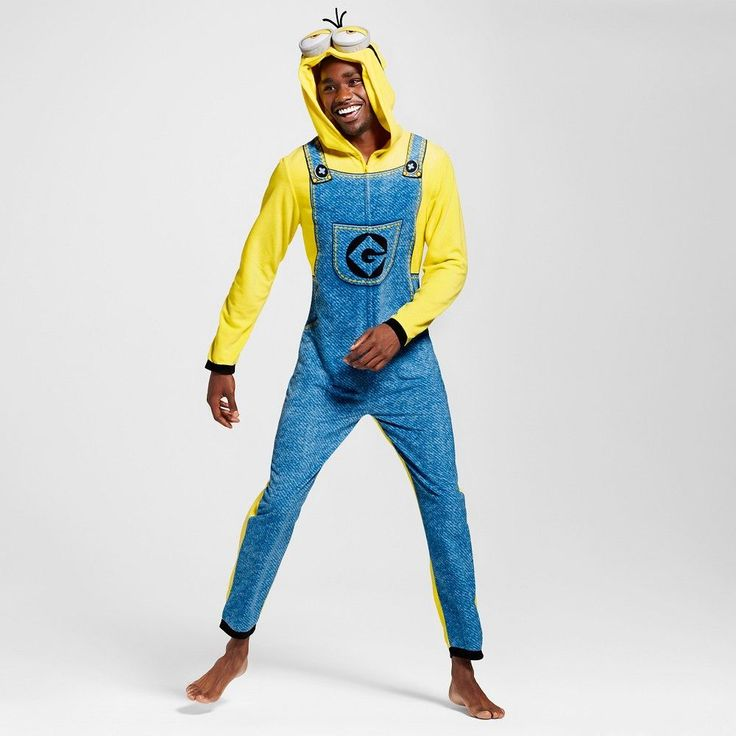 Men's Minions Hooded Onepiece Union Suits Yellow, Size: