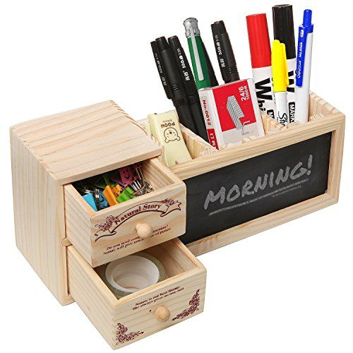 Keep your desk organized and your important messages easy to see throughout the day with this office supply caddy. The 2 small drawers and 1 large pencil cup compartment (with 2 dividers so you can customize the spacing) help you keep everything from paper clips to highlighters neatly organized, and the chalkboard on the front of the pencil cup compartment is a perfect place to leave memos or reminders. For a great way to keep your workplace organized and efficient, this desk caddy is the…