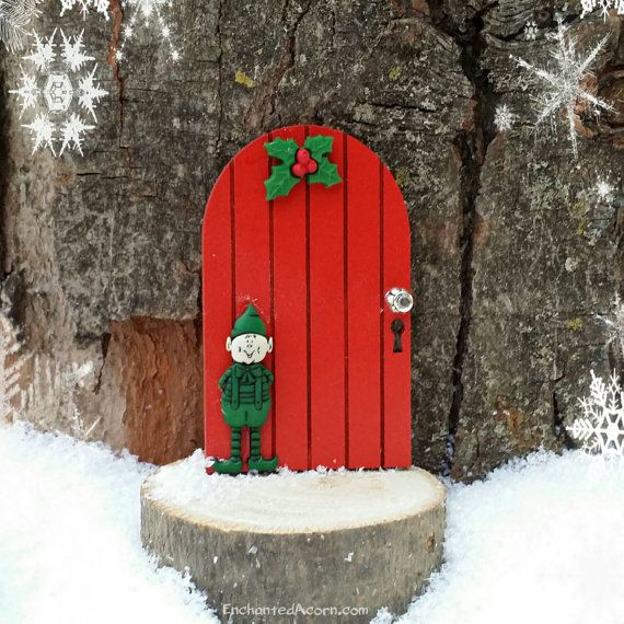 Christmas elf holiday fairy door winter miniature fairy for Miniature fairy garden doors