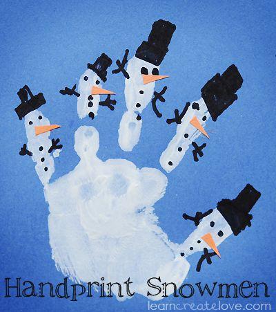 { Handprint Snowmen Craft }