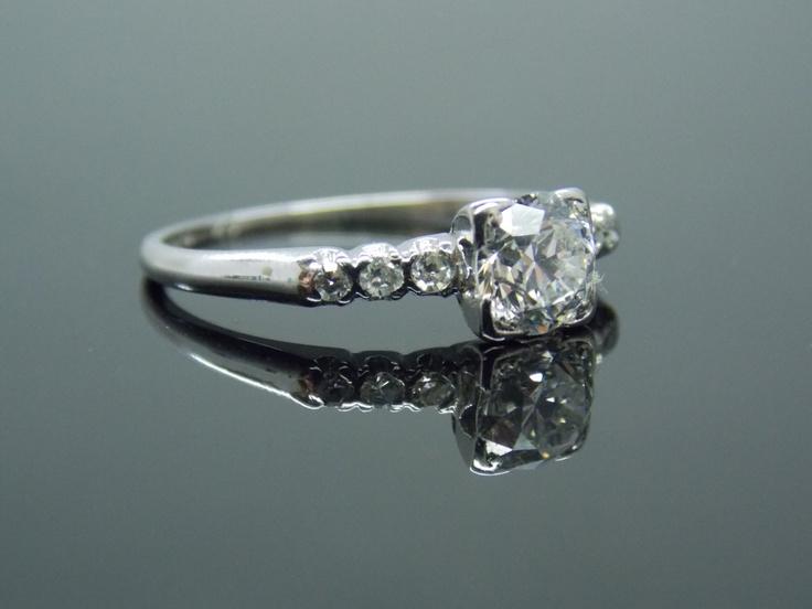 platinum simple deco engagement ring vintage