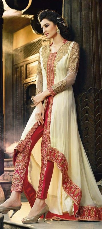 434062, Party Wear Salwar Kameez, Faux Georgette, Stone, Patch, Lace, Resham, White and Off White Color Family