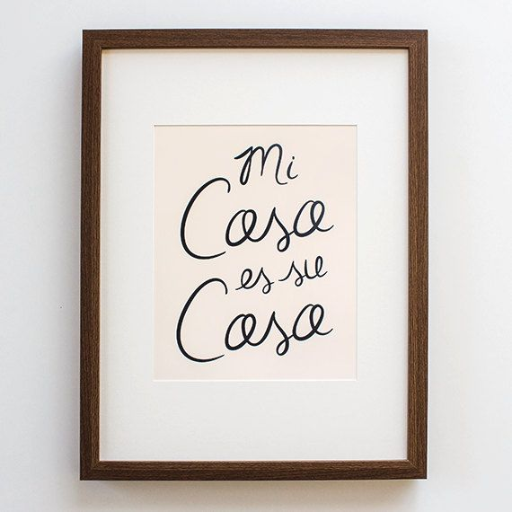 Spanish Print - mi casa print, poster, quote, home decor, modern, calligraphy, art, spanish, wall, wedding gift, pink