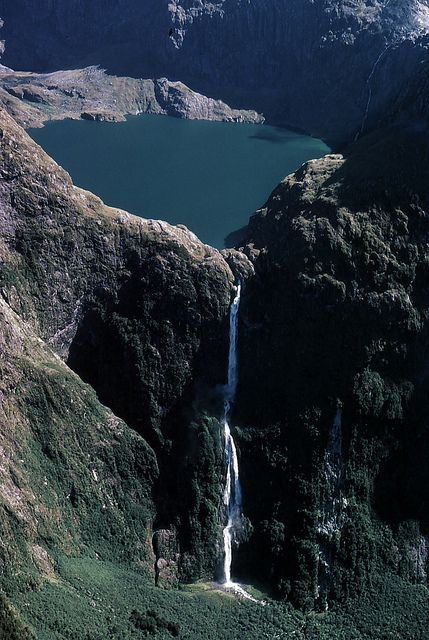 Lake Quill with Sutherland Falls, Fiordland National Park, Southland, New Zealand
