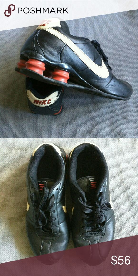 Vintage Style Nike Shox Shoes Black Nike Shox shoes, with white and orange accents, vintage and in good condition. Nike Shoes Athletic Shoes
