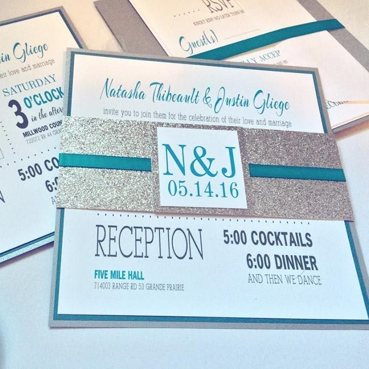 Teal Wedding Invitations With Silver Sparkle Details. Modern Bling  Invitation Set.