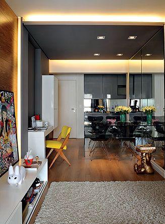 Ambientes integrados ampliam qualquer mini apê! http://www.minhacasaminhacara.com.br/apartamentos-pequenos-inspiracoes/