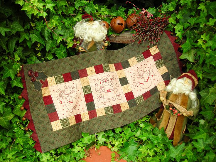 """""""Winter Friends"""" by Sally Giblin of The Rivendale Collection. Finished table runner size: 32½"""" x 14 ½""""  #TheRivendaleCollection stitchery, appliqué and patchwork patterns.www.therivendalecollection.com.au"""