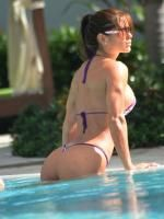 Michelle Lewin's ass naked at the pool in Miami