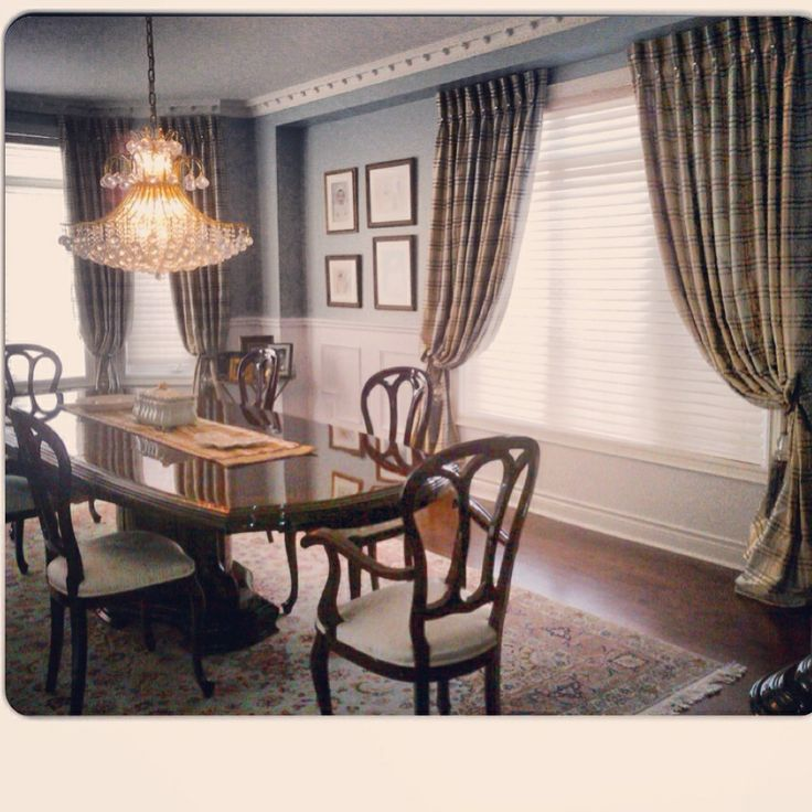 Silk panels for this traditional dining room! Gorgeous plaid print!