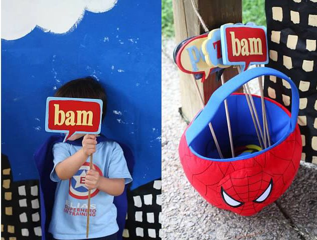 Superhero party with easy painted backdrop and lots of homemade elements from The Mom Creative