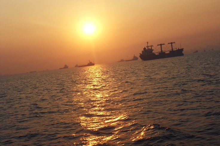 Indian shipping sunset.