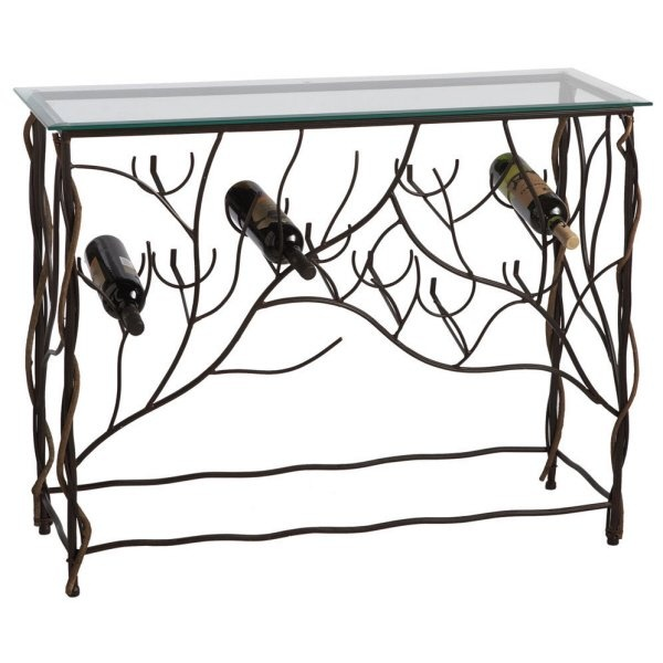 Rustic Grape Vine Iron Wine Storage Rack Accent Table Wine
