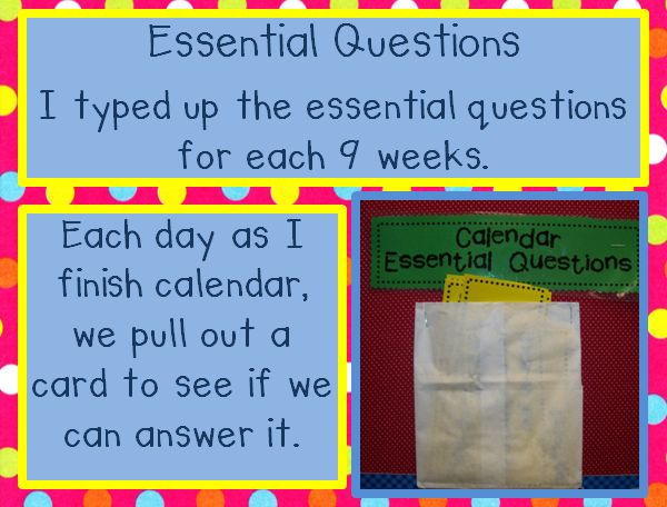Essential questions...you could do this with essential questions that were taught in mini lessons