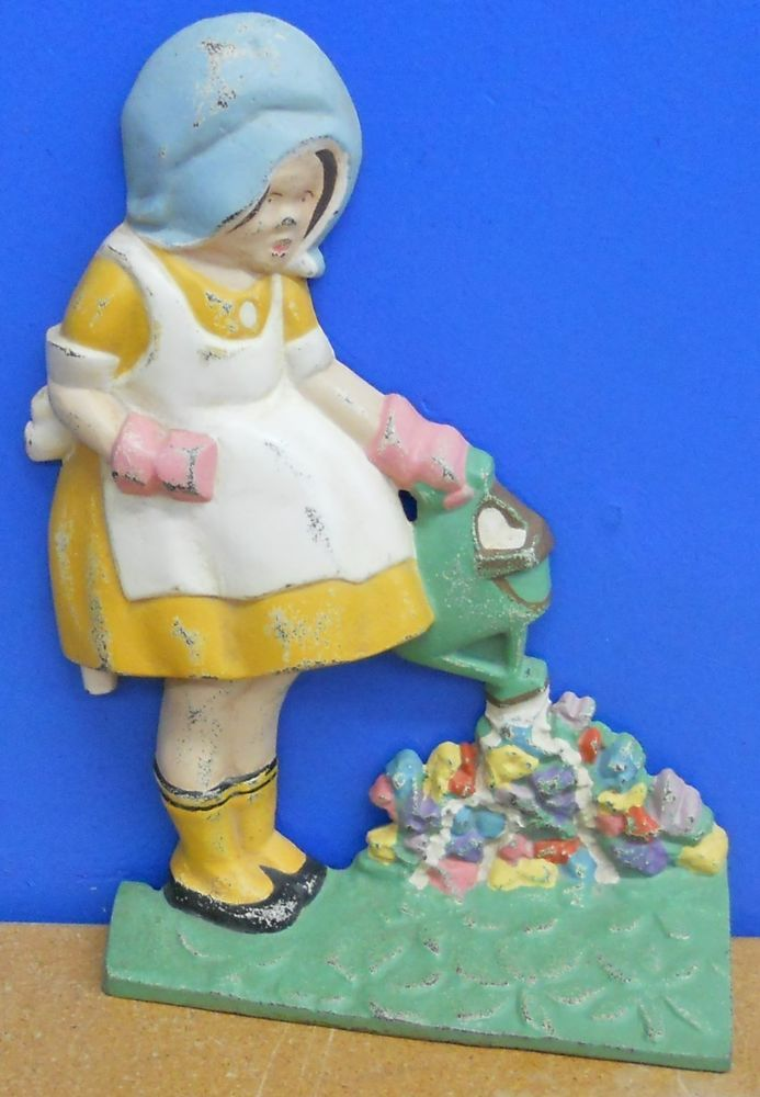 Vintage Cast Iron Door Stop - Mary Quite Contrary-Girl ...
