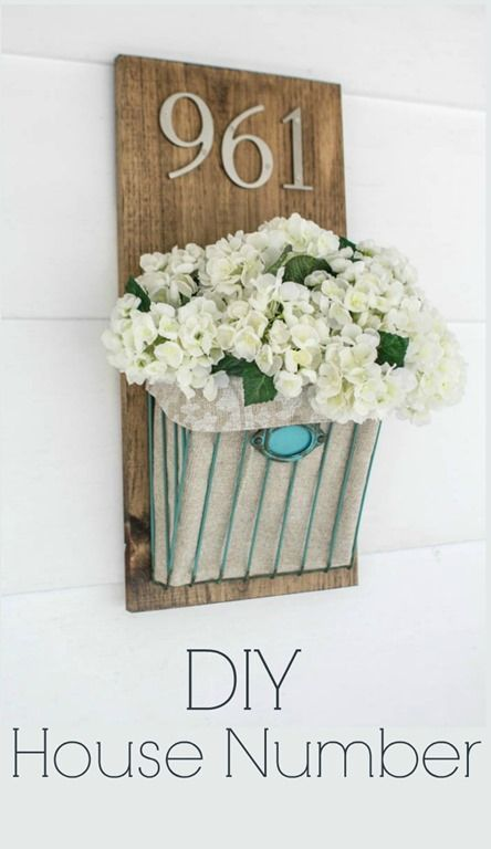 DIY house number with flowers, how to make a simple farmhouse style house number