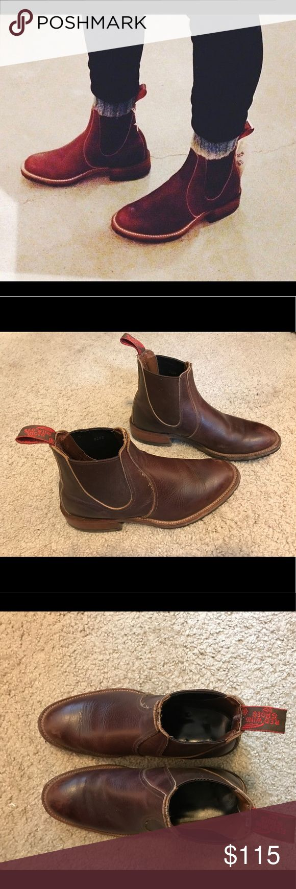 Red Wing Chelsea Rancher leather boots These are men's size 7, but fit women's size 9. They are in good condition, with minor wear including some scuffs on the toes (as shown in pictures). Personally I think the scuffs aren't very noticeable, and these boots look good with a slightly worn look. They are so cute and I wish I could keep them, but they are just slightly too small on me (I wear women's 9.5). Red Wing Shoes Shoes Ankle Boots & Booties