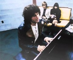 """Jim Morrison messes around on piano during the filming of The Doors' movie, 'Feast of Friends'. Jim Morrison GIF. James Douglas """"Jim"""" Morrison [Dec 8, 1943 ― July 3, 1971] ♡ The Doors. #JimMorrison #GIF #Paris #Quotes"""