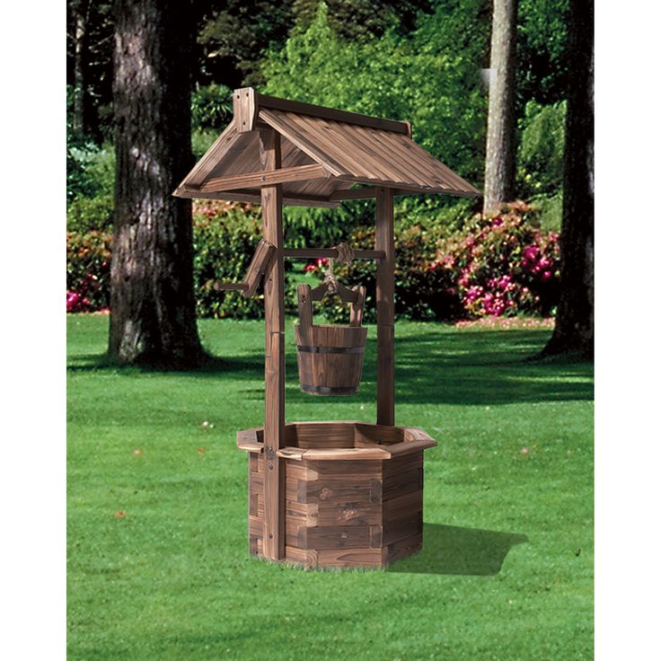 Stonegate designs fir wood wishing well burnt finish for Garden wishing well designs