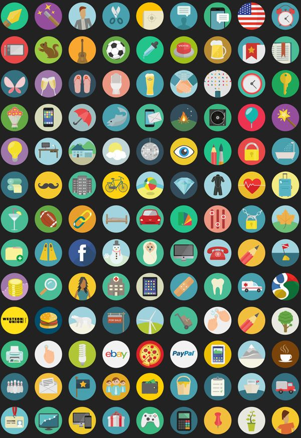flat icons vector bundle preview #vectoricons #flaticons #roundicons