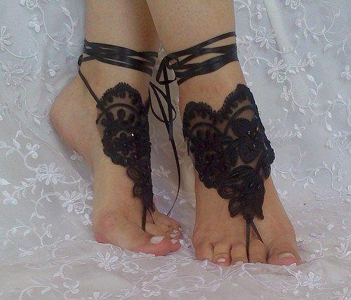 Black tulip barefoot sandals shoe burlesque steampunk elegant beaded