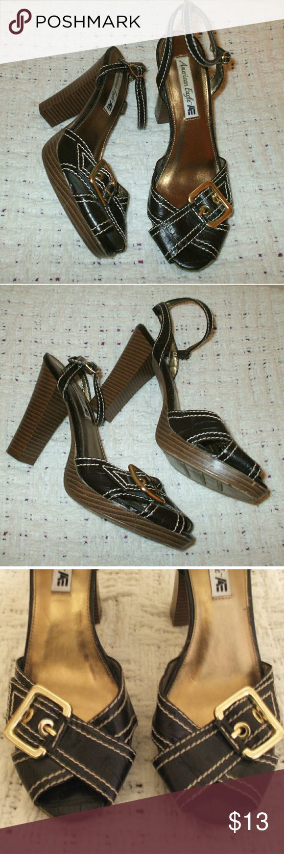 American Eagle Outfitters High Heel Shoes Brown with gold & faux wooden heels - Adjustable ankle straps - Really nice shape, only worn a couple of times American Eagle Outfitters Shoes Heels