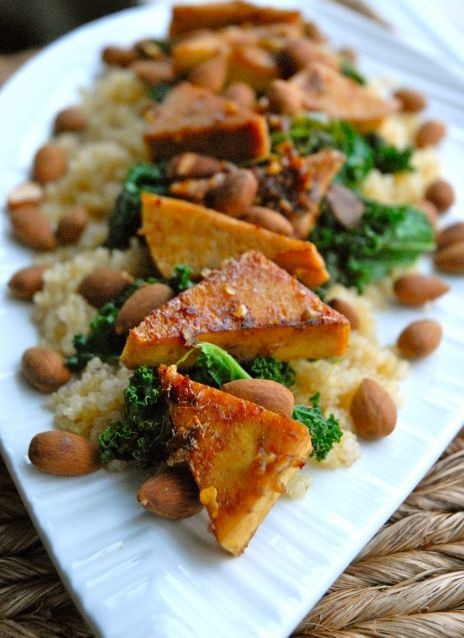 Sweet Chili Tofu with Kale and Coconut Quinoa: Vegans Sweet, Vegans Cookbook, Coconut Quinoa, Recipe, Cookbook Aficionado, Gluten Free Vegans, Steam Kale, Chilis Tofu, Sweet Chilis