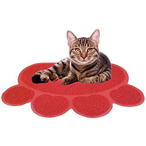 Easylifer katzenstreu matte rutschfesten pet food wassernapf placemat matte haustier f�ttern (L, Rot)