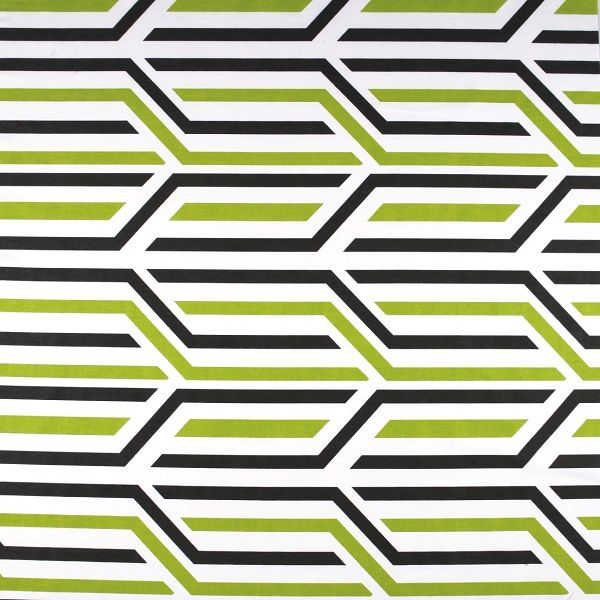 Roller blind fabric swatch in Chevron Kiwi from Apollo Blinds.