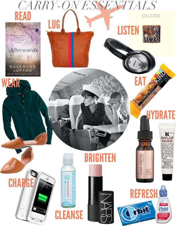 Carry-on Essentials for Travel featuring Luggage, Clothes, Snacks, Books, etc.by Cupcakes and Cashmere