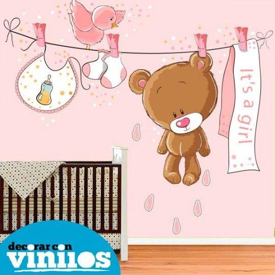 Fotomural Infantil - Osito rosa