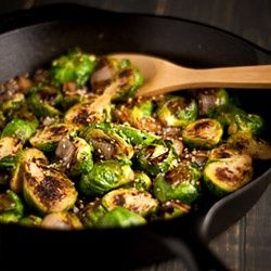 Caramelized Brussels Sprouts & Onions seasoned with Toasted Sesame Seeds & Coarse Sea Salt