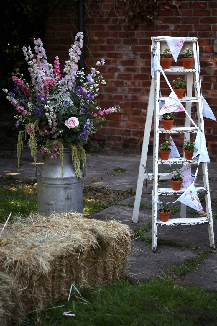 Our whitewashed wooden ladders are very sweet, a lovely prop for a rustic wedding. www.darbyandjoanvintage.co.uk