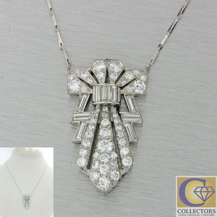 1920s Antique Art Deco 14k Gold Platinum 3ctw Diamond Pendant Chain Necklace J8 #Chain