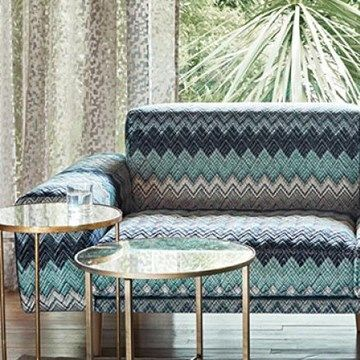 Engelska Tapetmagasinet - tyger - möbeltyg - zickzack - zigzag - fabric - sofa- turkos - Romo - Zenith Jasper
