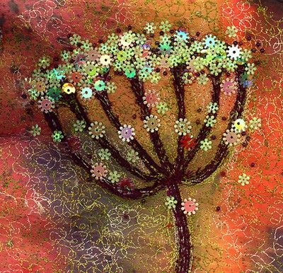 Umbel Original Embroidered Silk Painting Textile Art by @Nicky Perryman.