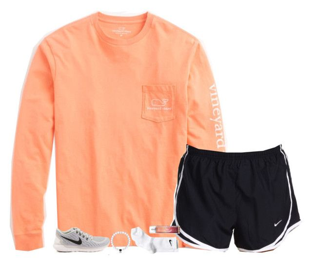 """""""orange sherbet"""" by gourney ❤ liked on Polyvore featuring Vineyard Vines, NIKE, women's clothing, women's fashion, women, female, woman, misses and juniors"""