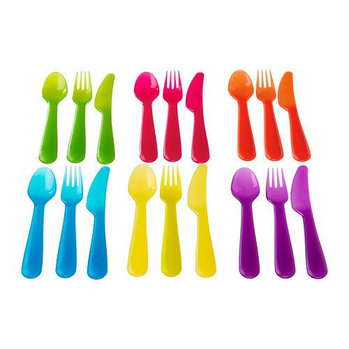 $1.99 for a matching childrens flatware set - durable plastic - might not be too bad considering Jacob likes to stab my wood table with his fork. :-\