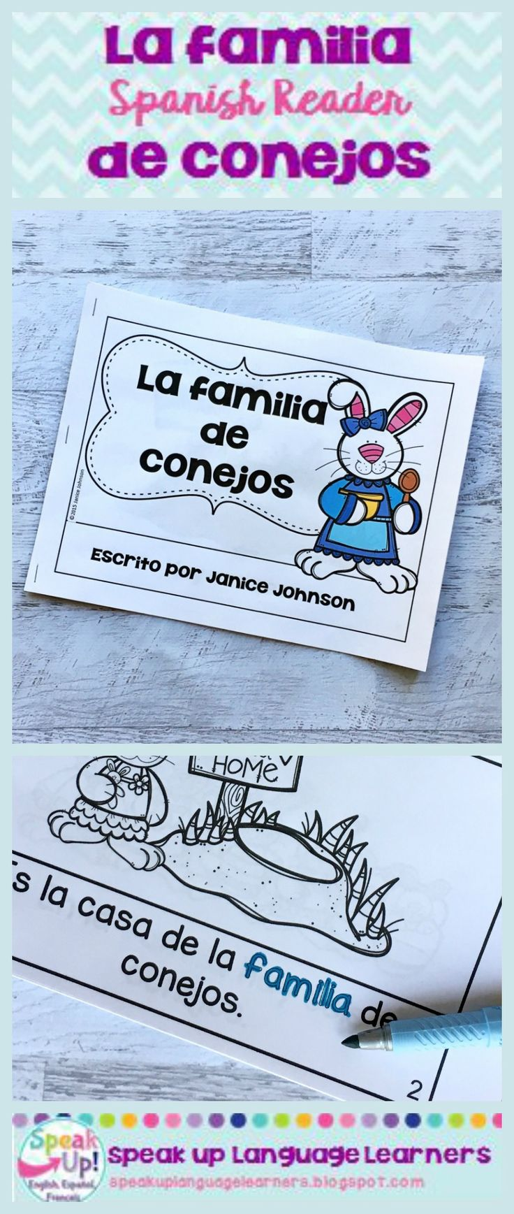 La Familia de Conejos Spanish Easter Family Reader 1. A large 21 page Spanish reader in color. The reader is written in simple terms appropriate for young dual language/immersion/FLES students/readers learning Spanish. 2. Small black and white student readers with traceable vocabulary words. Directions for how to assemble the readers are included.