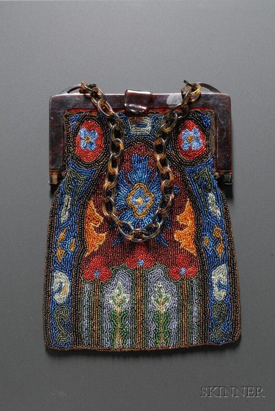 Art Deco Faux Tortoiseshell Framed Floral Beaded Bag, lg. 9, wd. 7 in.