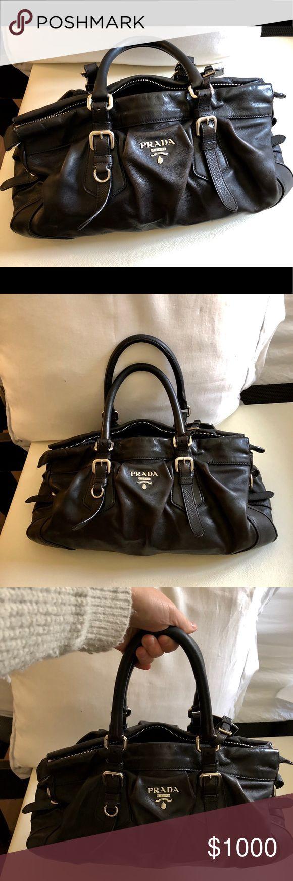 Prada bag (barely used) Black ruched Prada satchel  In great condition! Prada Bags Satchels