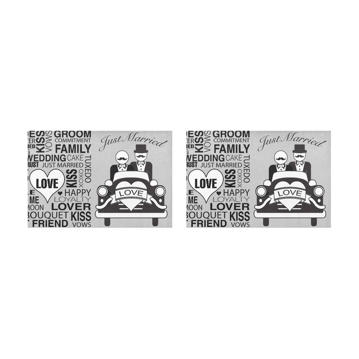 Wedding Gift Placemat Set Just Married Mr. Lgbt Print Grey Placemat 12'' x 18'' (Two Pieces)