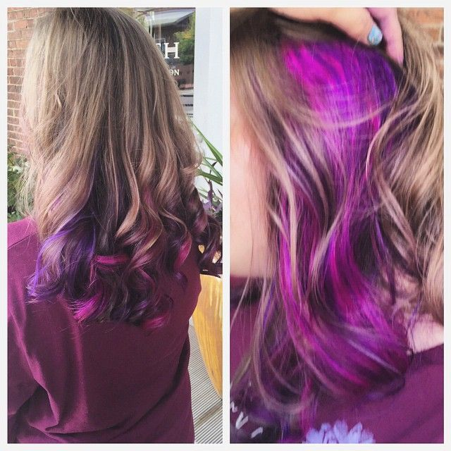 Loving the #purplehair and #pinkhair trends!! @squidney89 creates a vibrant accent panel of purple/pink to play peek-a-boo underneath subtle highlights! Love!