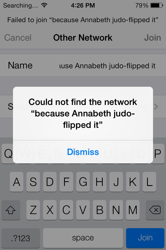 MoA humor>>>>>>>well, if Annabeth judo-flipped it, i'll just deal with no-network
