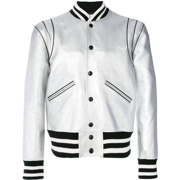 Givenchy striped trim bomber jacket ($3,930) ❤ liked on Polyvore featuring men's fashion, men's clothing, men's outerwear, men's jackets, grey, mens gray leather jacket, mens metallic jacket, givenchy mens jacket, mens grey bomber jacket and mens grey jacket
